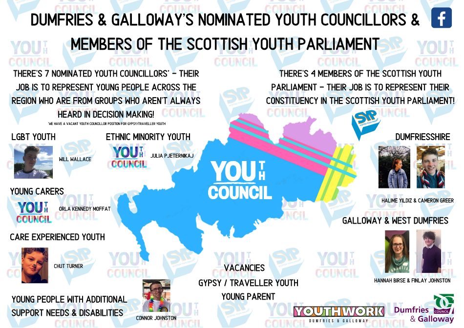 Visual of the current Dumfries and Galloway Nomindated Youth Councillor and MSYP